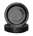 Picture of Plastic Plate Black 9in 230mm Extra Strong Dinner-PLAT090950- (SLV-50)