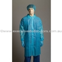 Picture of **Talk to lester, Craig, Bernard**Gown Polypropylene Labcoat No Pocket BLUE -APPR495222- (CTN-100)