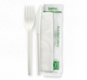 Picture of 100% Bioplastic Knife, Fork and Napkin Combo set-BIOD077460- (CTN-250)
